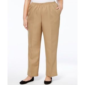 Alfred Dunner Tan Pull On Straight Leg Pants 24W